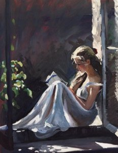Serenity - painting of a woman reading by Sherree Valentine Daines.
