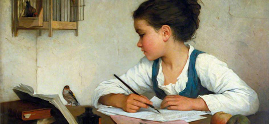 A-Girl-Writing-by-Henriette-Browne